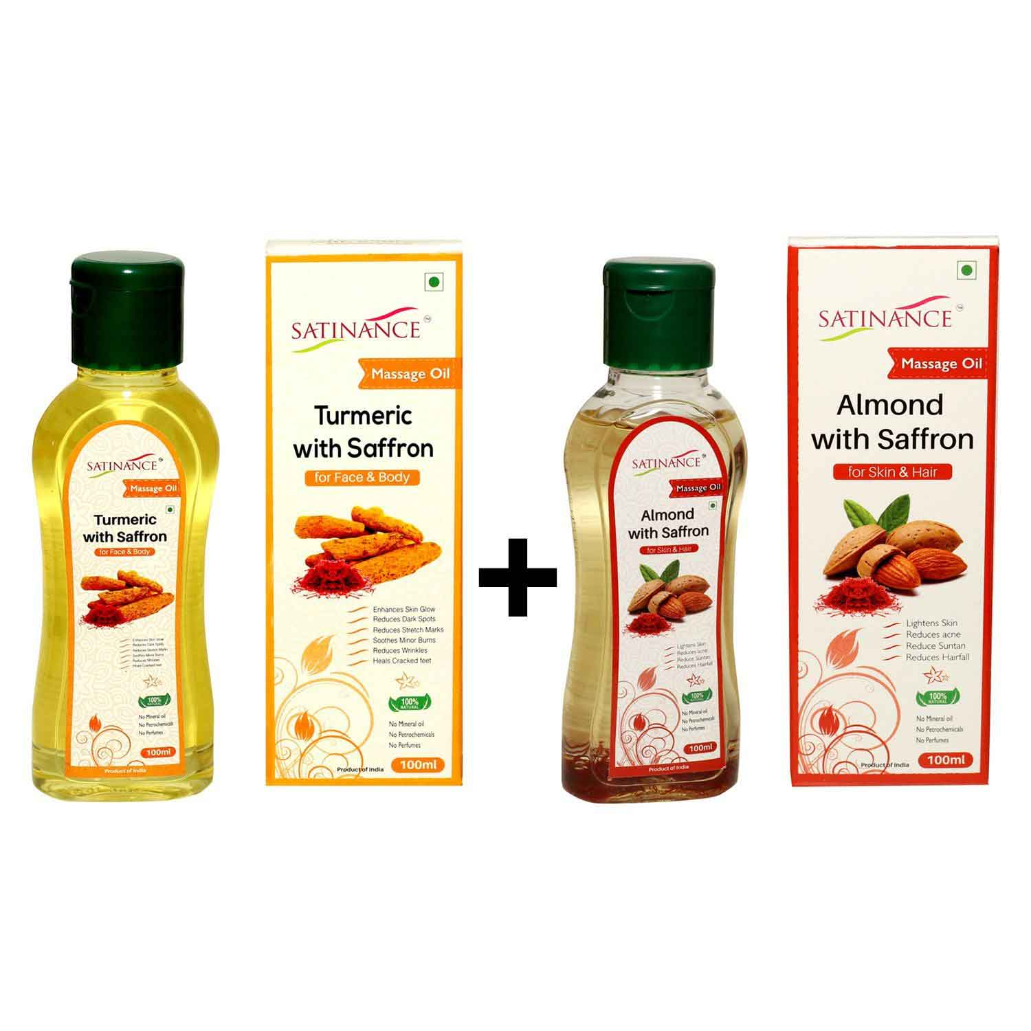 Turmeric with Saffron Massage Oil 100 ml + Almond With Saffron Massage Oil 100 ml