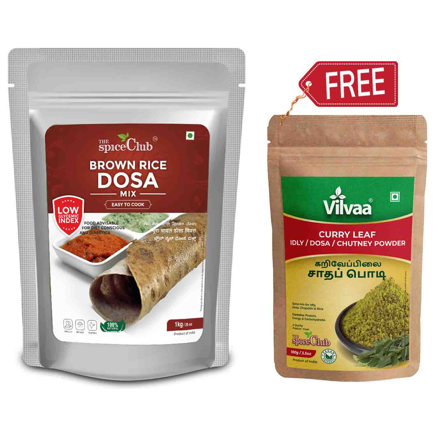 Brown Rice Dosa Mix 1 Kg - (Vilvaa Curry Leaf Chutney Powder 100Gm Free)
