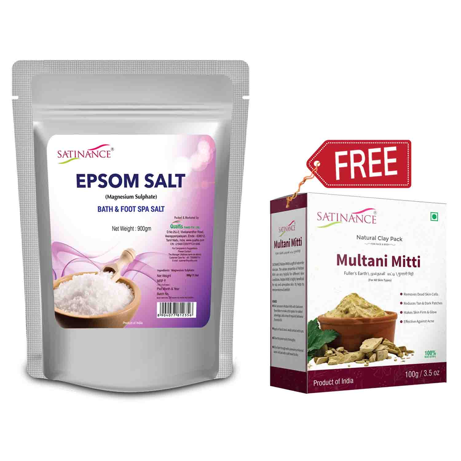 Epsom Salt 900Gm -(Multani Matti 100Gm Free)