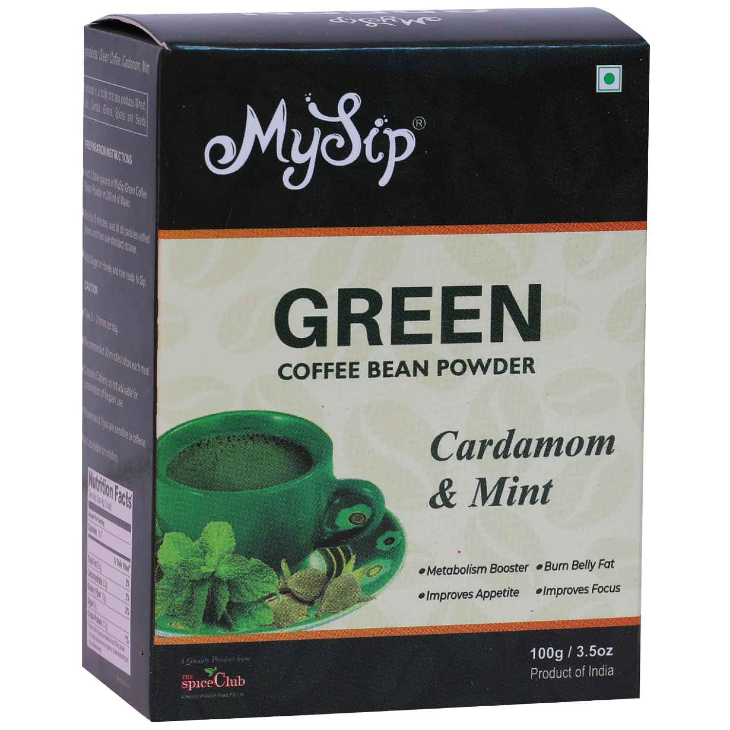 Green Coffee Bean Powder Cardamom & Mint – 100g