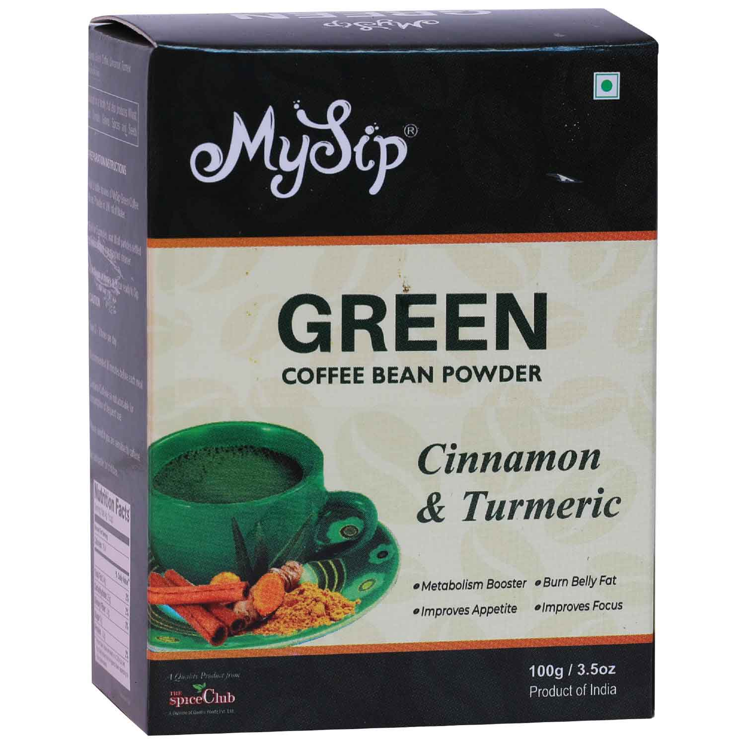 Green Coffee Bean Powder Cinnamon & Turmeric – 100g