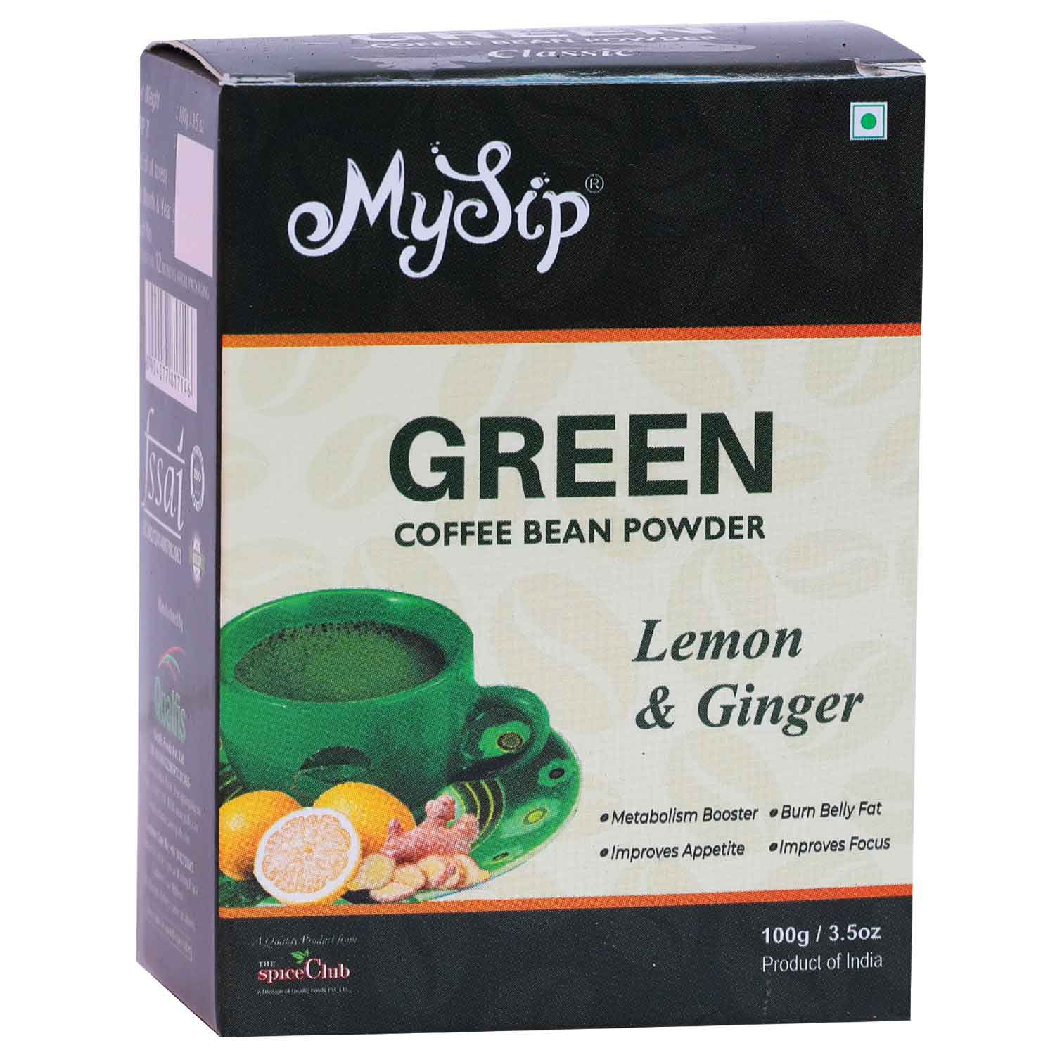 Green Coffee Bean Powder Lemon & Ginger – 100g