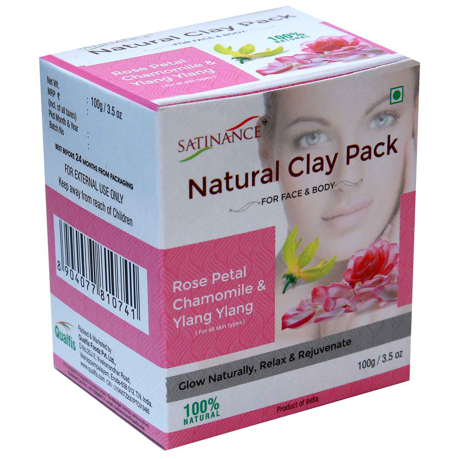 Natural Clay Pack Rose Petal, Chamomile & Ylang Ylang 100g (Glow Naturally, Relax & Rejuvenate)
