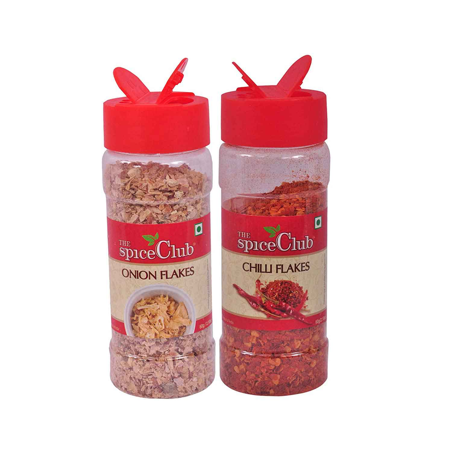 The Spice Club Red Onion Flakes 40g + Chilli Flakes 60g - for Pizza, Noodles, Veg and Non Veg Seasoning
