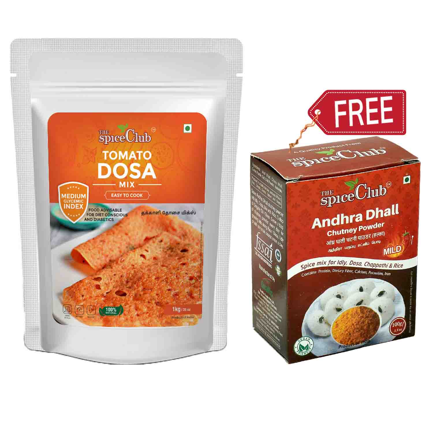 Tomato & Brown Rice Dosa Mix 1Kg - (Andhra Dhall Chutney Powder 100Gm Free)