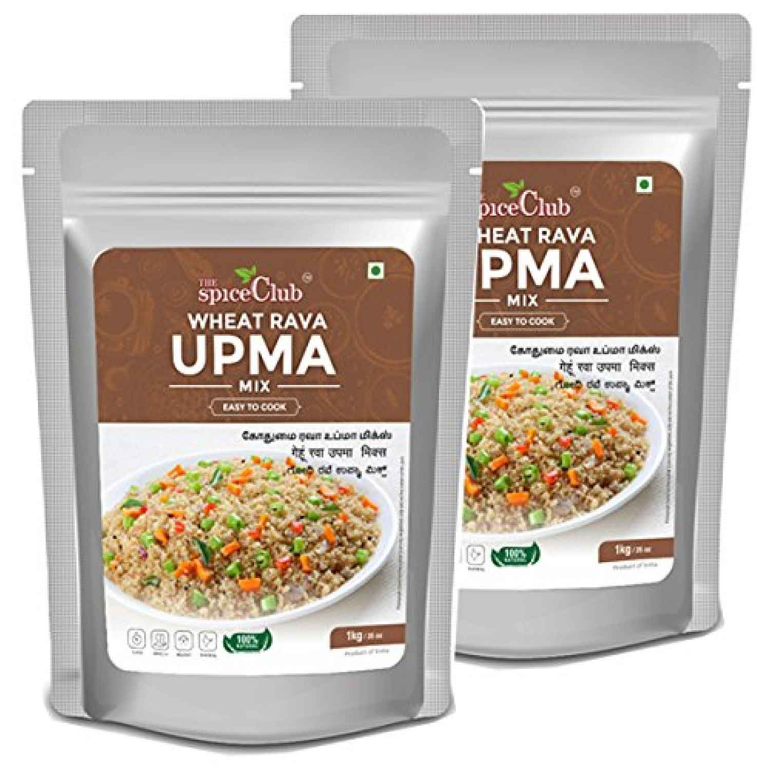 Wheat Rava Upma Mix 1 Kg (Pack of 2) - ( Easy to Cook, 100 % Natural, Traditional, Instant Mix)
