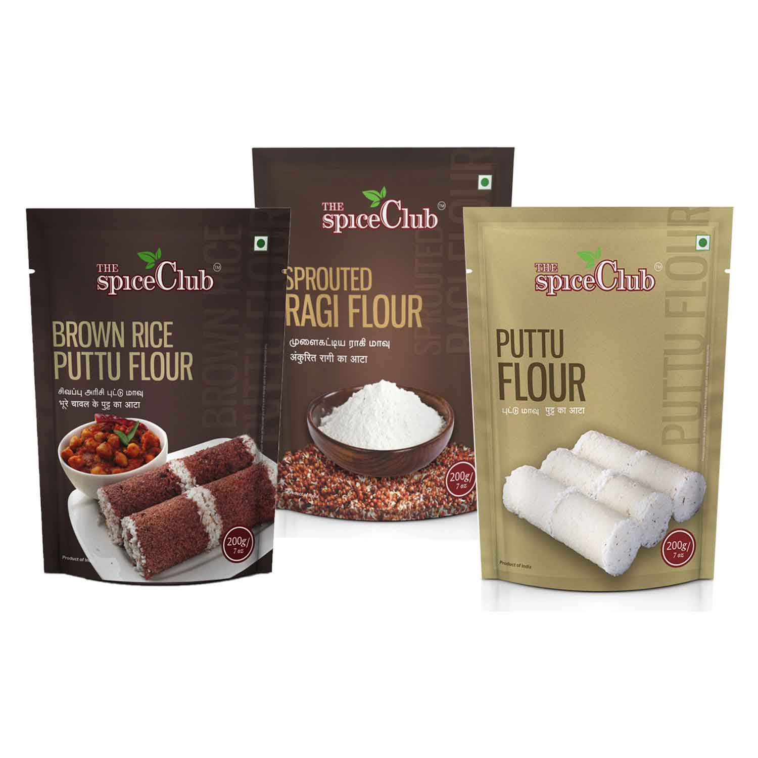 Brown Rice Puttu Flour 200g + Sprouted Ragi Flour 200g + Puttu Flour 200g