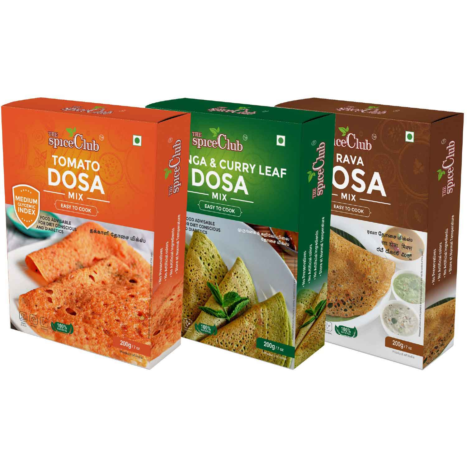 The Spice Club Moringa & Curry Leaf Dosa Mix 200g + Tomato Dosa with Brown Rice Mix 200g + Rava Dosa Mix 200g- No Preservatives, 100% Natural