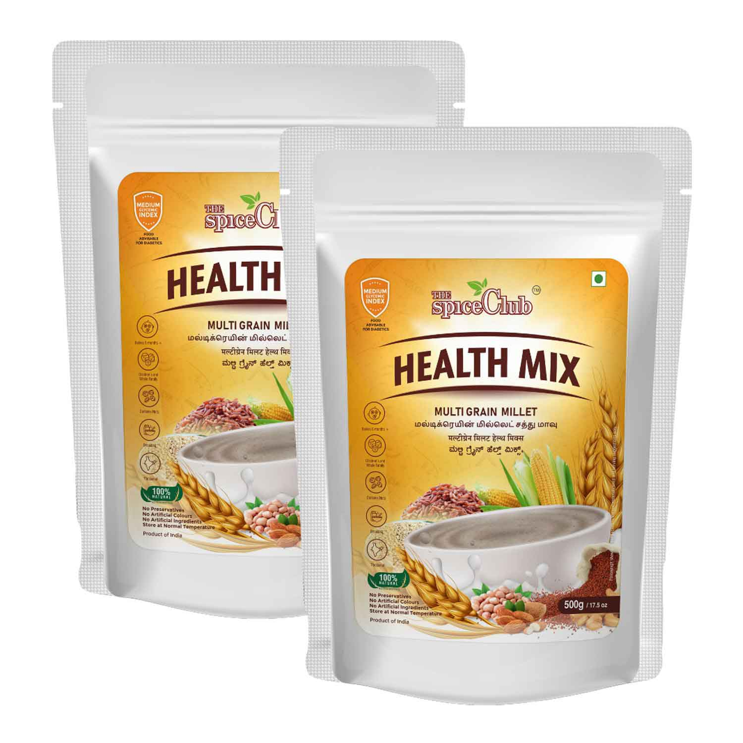Multi Grain Millet Health Mix 500gm - pack of 2 (100% Natural, No Preservatives, No Artificial Colors)
