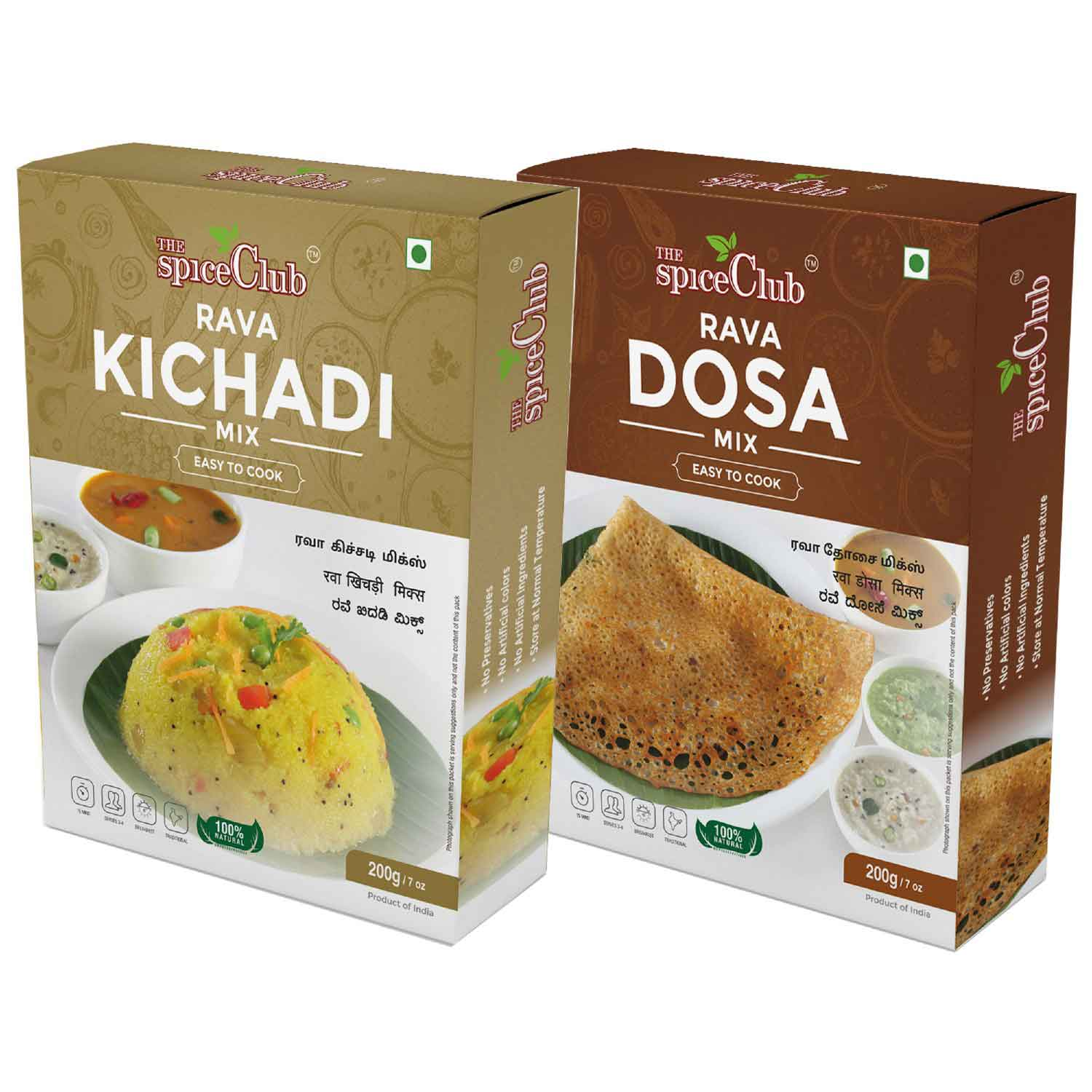 The Spice Club Rava Kichadi Mix 200g + Rava Dosa Mix 200g ( No Added Preservatives & Artificial Ingredients )