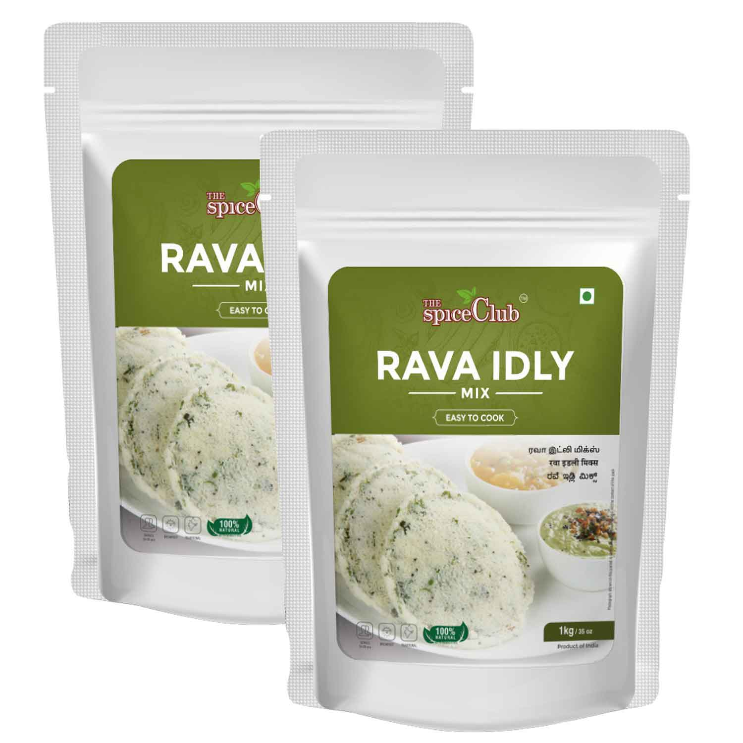 Rava Idly Mix 1KG - Pack of 2 ( 100% Natural, No Preservatives, No Artificial Ingredients)