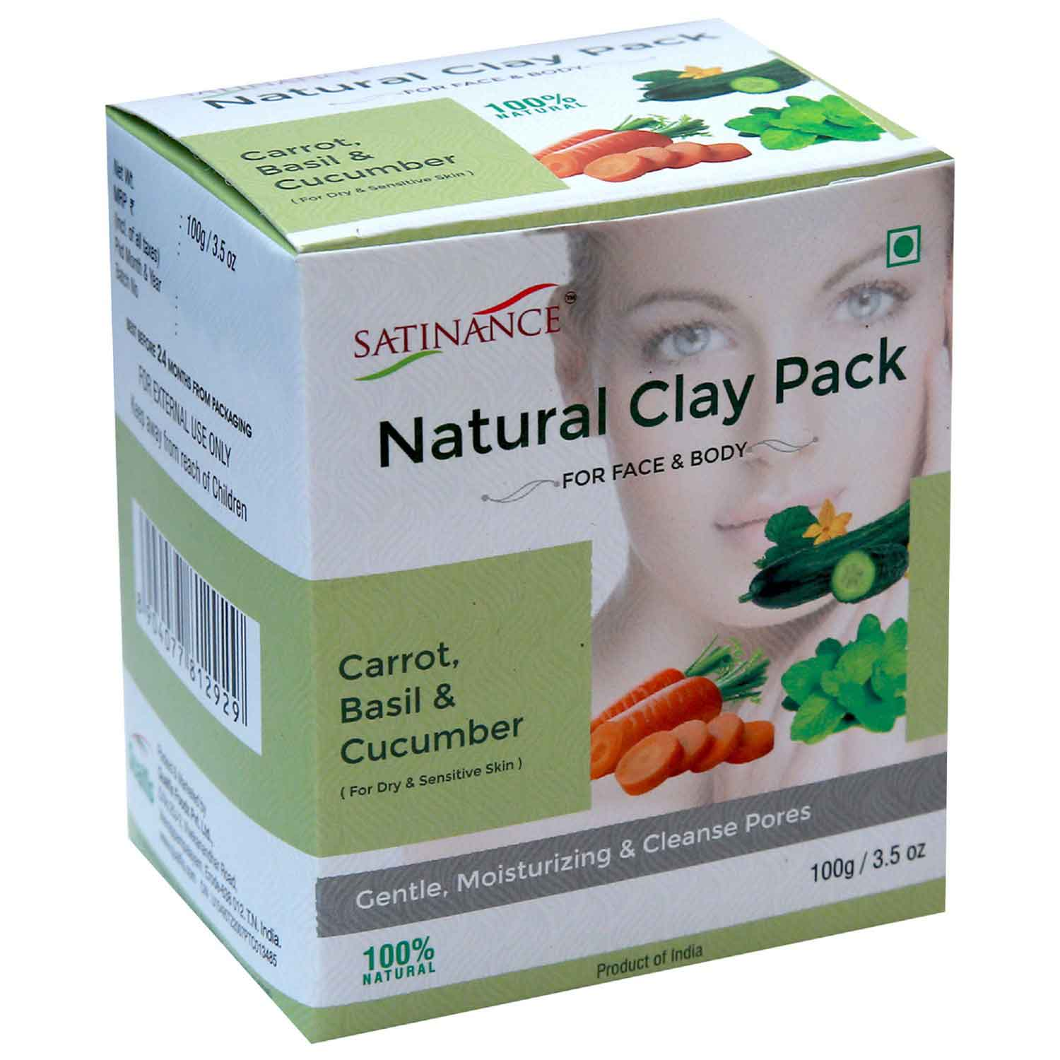 Natural Clay Pack Carrot, Basil & Cucumber – 100g ( Gentle, Moisturizing, Cleans Pores)