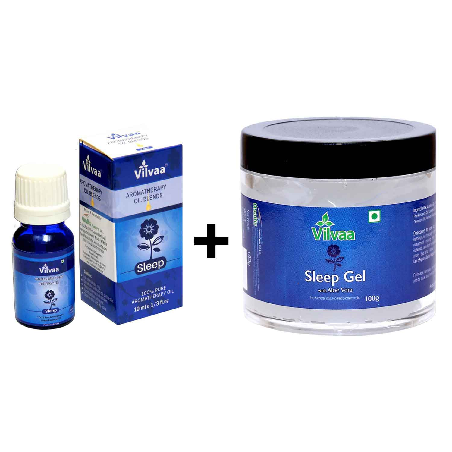 Aromatherpy Oil Blends - Sleep 10 ml + Vilvaa Sleep Gel With Aloe Vera  100g