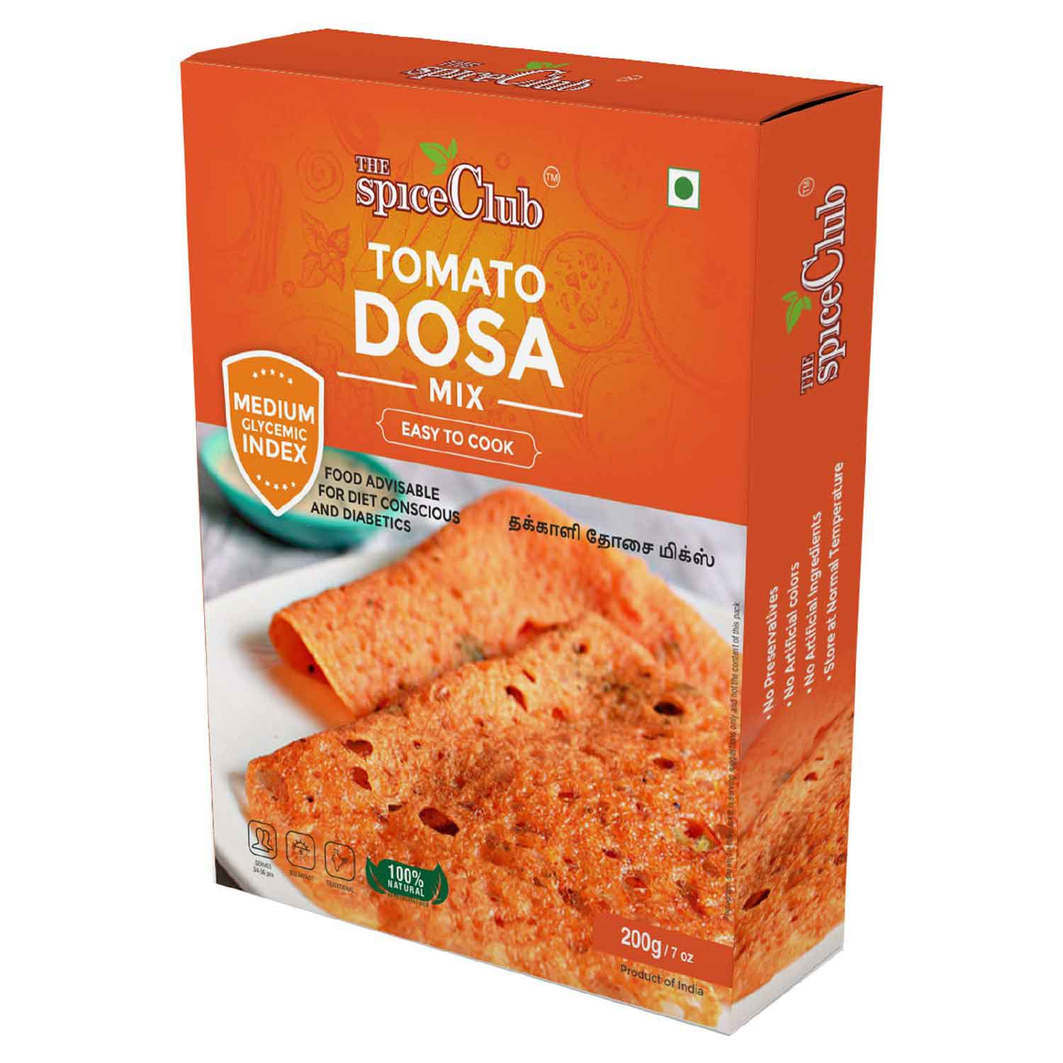 Tomato Dosa Mix With Brown Rice  – 100% Natural, No Preservatives, Medium GI, Easy to Cook