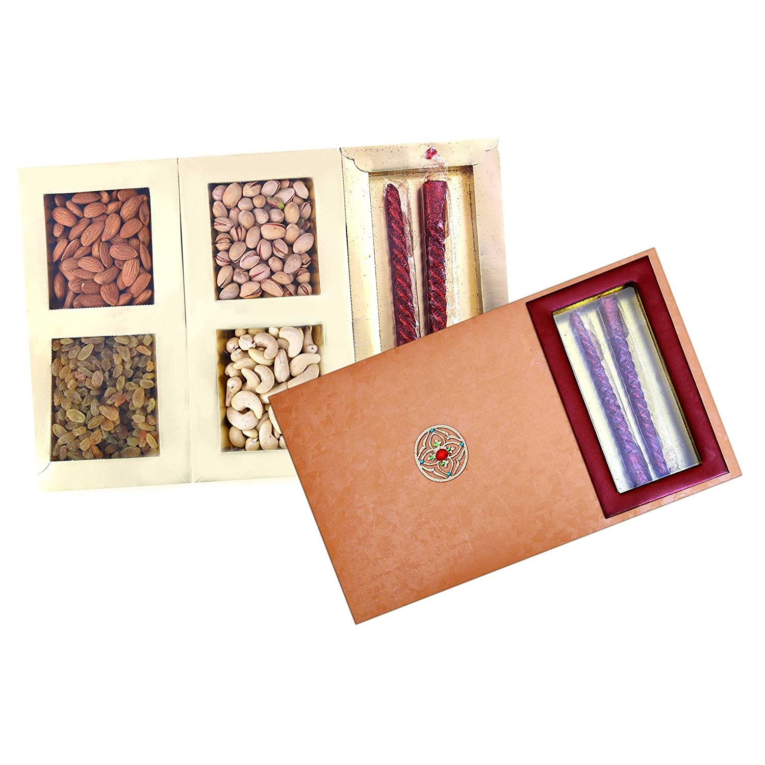 Dry Fruits Gift Box (With 2 Candles) 450 Grams (Badham 125g, Cashewnut 100g, Grapes 125g, Pistha 100g)