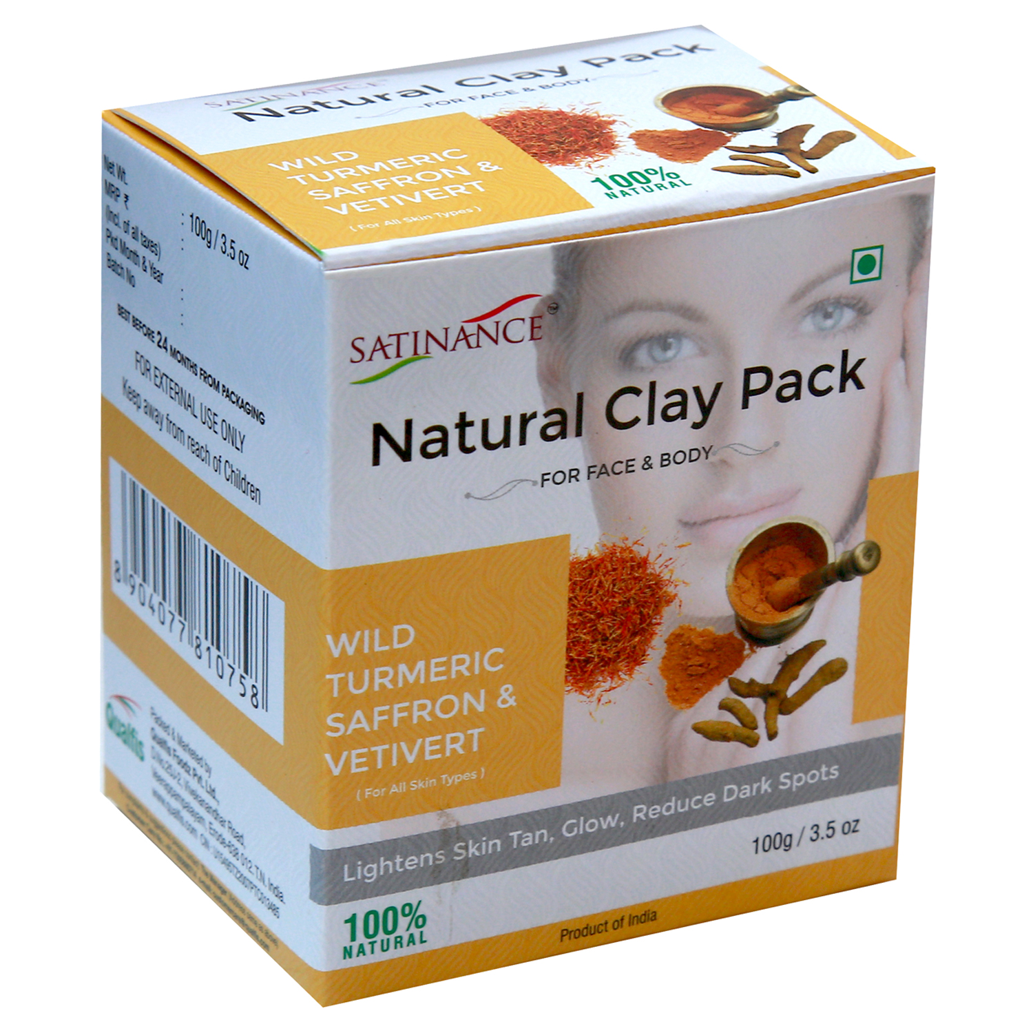 Natural Clay Pack Wild Turmeric, Saffron & Vetivert – 100g ( Lightens Skin Tone, Glow, Reduce Dark Spots)