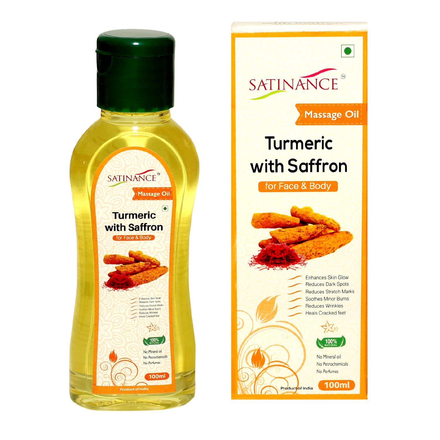 Turmeric With Saffron Massage oil 100ml – (No Mineral Oil, No Petrochemicals, No Perfumes)