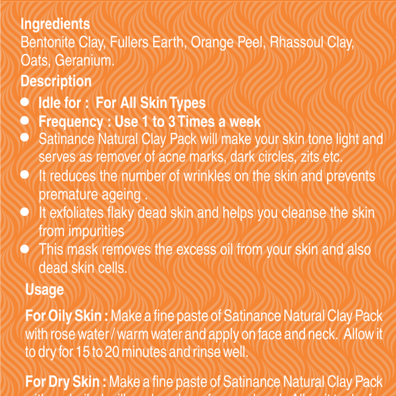 Natural Clay Pack Orange Peel & Geranium 100g ( For Face & Skin, 100% Natural, For Skin Tightening)